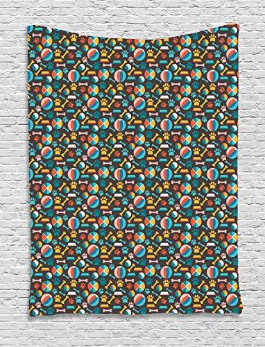 ABAKUHAUS Hunde Wandteppich, Welpenfutter Spuren und Spielzeug, Wohnzimmer Schlafzimmer Heim Seidiges Satin Wandteppich, 150 x 200 cm, Mehrfarbig