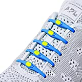 Hickies 2.0 Lacets élastiques taille unique compatibles avec toutes vos chaussures - Bleu Jaune (14 unités)