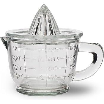 CKB Ltd® Traditional Glass Juicer Presse-Citron Presse-Agrumes Manuel Fruits Presse-Citron avec bol Centrifugeuse Tamis - 1 Pint 600ml -La façon idéale de presser les oranges fraîches, le citron ou la lime