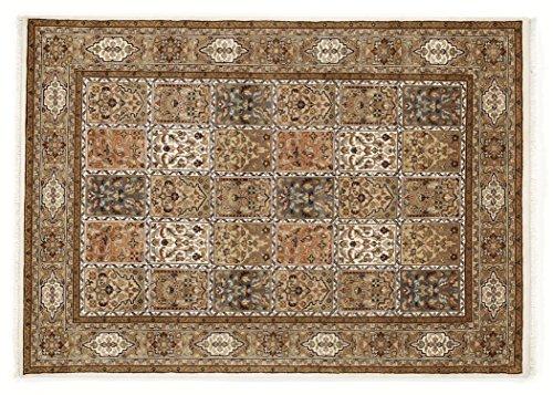 BADOHI BAKTHYARI echter klassischer Orient-Felder-Teppich handgeknüpft in creme-creme, Größe: 90x160 cm -