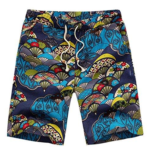 GreatestPAK Pants Parachute Print Shorts Herren Sommer Strandhosen,X-Large,Gelb(Blau)