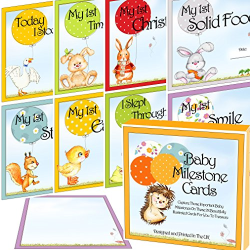 Baby Milestone Karten & Andenken Box 28Cute bebilderte Landmark Moments Foto Karten Ideal für Baby-Dusche Geschenk oder Baby Geschenk