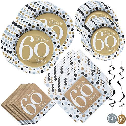 Fun Express Cheers to 60 Years Bundle - Luncheon & Beverage Servietten, Dinner & Dessert Teller, hängende Wirbel, Girlande, ideal für Party-Dekor, 60. Geburtstag, Hochzeit oder Firmenjubiläum (Dude-party Vintage Dekorationen)