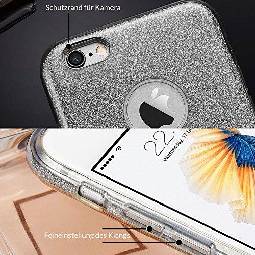 EGO ® Hülle Glitzer Schutzhülle für Lenovo Moto G5, Gold Back Case Bumper Glänzend Transparente TPU Bling Weiche Glamour Handy Cover Lipgloss Schwarz + Glas