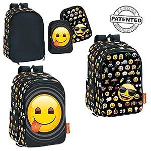 61so5TQMsxL. SS300  - Montichelvo 52647 - Mochila con tema Emoji, con bolsillos intercambiables