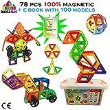 Magnetische Bausteine│78 größe magnetische Bauklötze mit e-Book 100 Modellen + einer Aufbewahrungsplastikbox│Konstruktion Spielzeug für Jungen und Mädchen über 3 Jahre alt. Großes Weihnachtsgeschenk