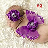 Decut New Born Butterfly Crystal Wings With Headband (Deep Violet)