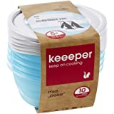 keeeper Food Containers, Set of 5, Freezable, Labelled Lid with Rewritable Surface, 5 x 500 ml, 14 (Diameter) x 6 cm, Mia Pol