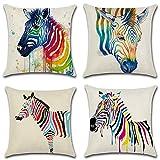 HuifengS Leinen, Überwurf-Kissen, Kissenhülle, Zebra-Motiv, für Sofas, Stühle, 4Stück, 45x 45cm