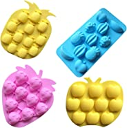 Sakolla Set of 4 Fruits Series Silicone Fondant Mold Candy Mold Strawberries Pineapples Apples Grapes Chocolate Mold