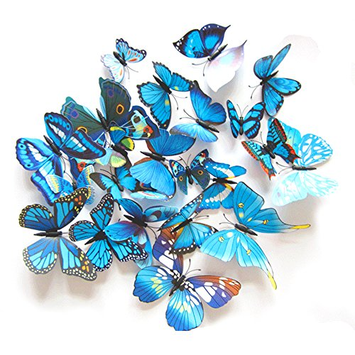 Home Decor 3D della farfalla di modo Animal Wall Sticker PVC farfalla di simulazione, 24pcs, Blu
