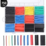 Preciva 750 Pieces Heat Shrink Tubing, Electric Insulation Heat Shrink Wrap Cable Sleeve, Cable Insulated Sleeving Tubes, Shrink Ratio 2: 1, 5 Colors, 12 Sizes