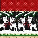 Michael Miller 0619979 Metallic Hello My Deer Santa Fabric