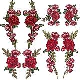 tesan 8Pack rosa ricamo fiore applique cucire su Caratteristica: 1.Cucire o colla sul vostro borse, asciugamani, lenzuola, trapunte. Si tratta di una moda fai da te. 2.riparare il danneggiato luoghi o macchie sui vostri vestiti, copre i dife...