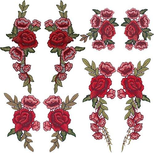 Tesan Aufnäher Blumen Rose Stickerei Applikation Patches für T-Shirt Jeans (8 Stück) (Stickerei Patch Patches)