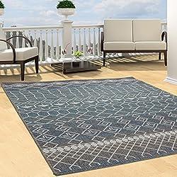 Teppich Flachflor Modern Outdoor fest Geknüpft Outside Sunset Vintage Pastel Blau 80x150 cm