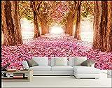 Tantoto Fototapete 3D Ganzer Nahtloser Imprägniernder Großer Wandgemälde Park, Romantischer Kirschbaum, Landschaft Fernsehhintergrund-Tapeten-Tapete