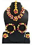 sarthak fashion jewellery Yellow Color Floral Gota Patti Mehandi Haldi Necklace, Earrings and Maang Tika for Women and…