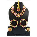 Sarthak Royal Handmade Flower Jewellery Set Nacklace, Earrings,Tika,Bangles For Women & Girls ( Mehandi/Haldi/Wedding/Bridal/