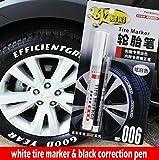 1PCS Weiß Tire Marker und schwarz Korrektur Stift Set Universal Wasserfest Permanent Öl basierend Paint Marker Auto Reifen Reifenprofil Gummi
