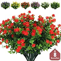 RECUTMS Artificial Flowers Outdoor Fake Flowers,8 Bundles Outside Face Mums Fake Summer Greenery UV Resistant No Fade Faux Plastic Lotus Shrubs Home Garden Porch Patio Decoration Office (Orange Red)