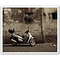 Image of JP London POSLT2192 uStrip Lite Removable Wall Decal Sticker Mural Espresso Vintage Vespa Cafe Sepia, 24-Inch x 19.75-Inch - Comparsion Tool
