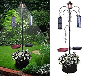Solar Bird Hotel Feeder & Bath With Light Garden Ornamental Birds Table Station from Elitezotec®