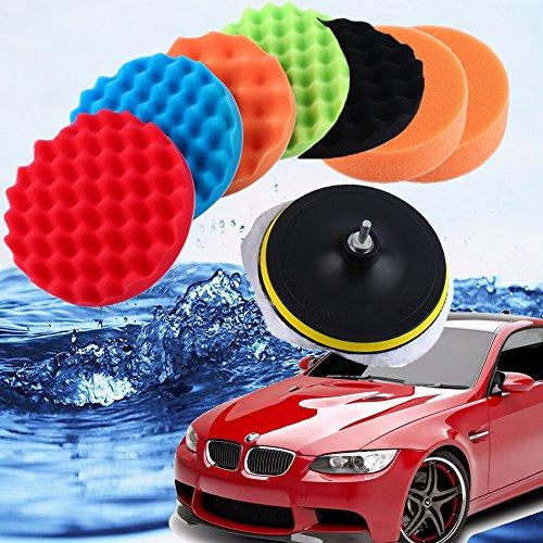 Boonor 10pcs 4 Inchs Auto Polierset 100mm Auto Polierschwamm Schwamm und Wolle Polierpad Set Polierteller für Poliermaschine M10 Bohrer Adapter