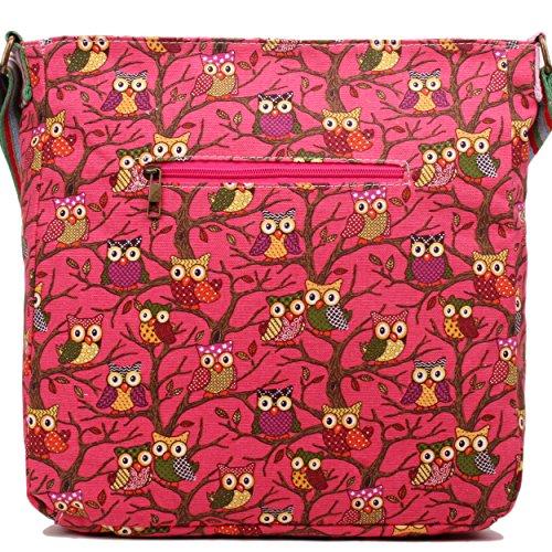 Donna, motivo floreale con farfalla, motivo a pois, in tela Owl Neon Rose