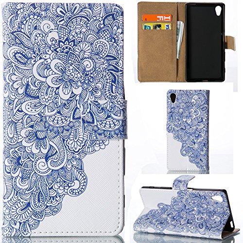 Preisvergleich Produktbild Ooboom® Sony Xperia M4 Hülle Flip PU Leder Schutzhülle Tasche Case Cover Wallet Stand mit Kartenfächer Kartenfach für Sony Xperia M4 - Blau und weiß