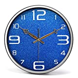 Radvihay Orologio da parete Orologio da parete muto Grandi orologi al quarzo fai-da-te, struttura in metallo con copertura in vetro a parete dell'obiettivo, orologio silenzioso senza ticchettio Second
