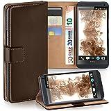 moex HTC One M7 | Hülle Dunkel-Braun mit Karten-Fach 360° Book Klapp-Hülle Handytasche Kunst-Leder Handyhülle für HTC One M7 Case Flip Cover Schutzhülle Tasche