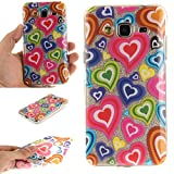 For Samsung Galaxy J3 (2016) /J3 Case Cover, Ecoway TPU Clear Soft Silicone Back Colorful Hollow Floral Printed Pattern Silicone Case Protective Cover Cell Phone Case for Samsung Galaxy J3 (2016) /J3 - Color love