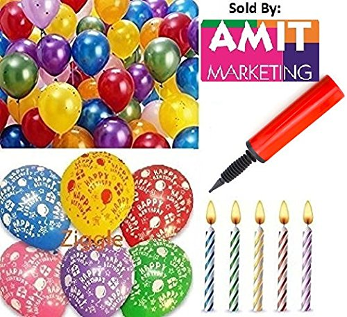 metallic hd large balloons +happy birthday print balloons + candels + air pump (pack of 76)