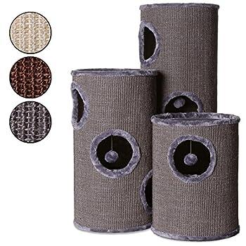 Dibea - Tonneau griffoir colonne avec sisal pour gratter, plateau avec peluche pour chat - Gris - Hauteur 70 cm