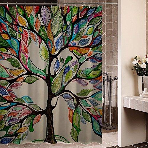 Bunte Baum des Lebens Duschvorhang Anti-Schimmel & Wasserdicht Polyester Badezimmer Duschvorhang mit Haken 120x180cm