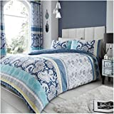 Gaveno Cavailia Luxurious KIRA Bed Set with Duvet Cover and Pillow Cases, Polyester-Cotton, Blue, Super-King