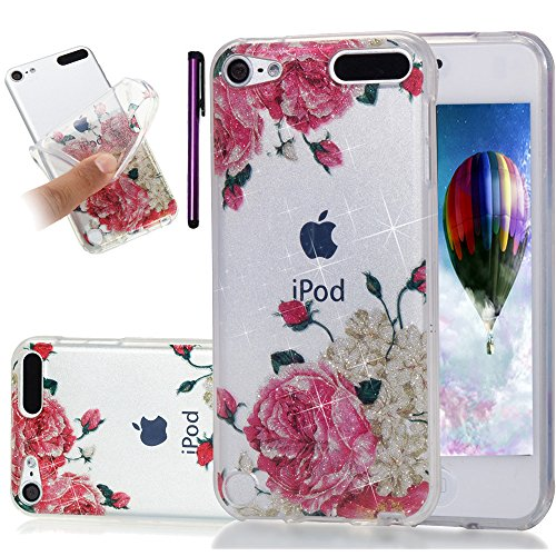iPod Touch 5. Fall, iPod Touch 6 Fall leecoco Bling Glitzer Sparkle Kristall Blumenmuster Transparent Slim Soft Bumper TPU Silikon Schutzhülle Cover für Ipod Touch 5./6, Glitter Peony (Ipod Touch Elefanten-fall)
