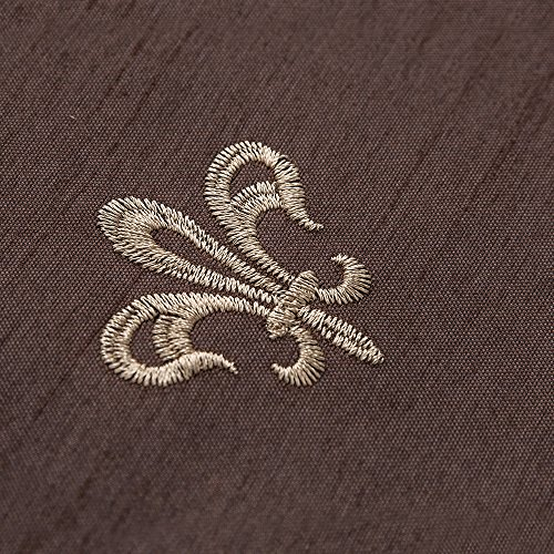 "TOPICK Faux Silk Embroidery Curtains for Living Room Quatrefoil Textured Eyelet Window Treatment Set for Bedroom Geometry – 55"" W x 89"" L – (Brown, Set of 2 Panels)"