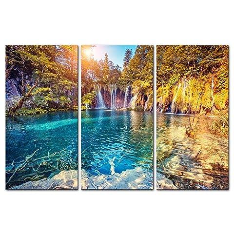 Moxo 3pièces moderne sur toile Peinture murale La Photo Turquoise Eau et Sunny poutres en National des lacs de Plitvice Croatie Paysage de montagne et lac d'impression sur toile giclée illustrations Décoration murale