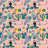 Fabulous Fabrics Baumwolljersey Tropische Vögel Tukan