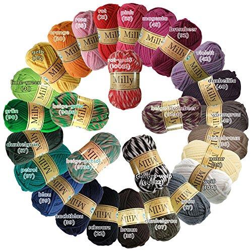 maDDma ® 10 x 50g Strickgarn Filzwolle Milly, Wolle zum Strickfilzen -