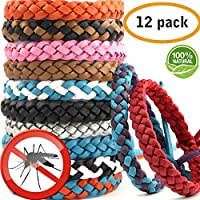 AYOUYA Mosquito Bnads Mosquito Repellent Bracelet 12 Pack Reusable Leather Adjustable Long Time Mosquito Repellent Natural Ingredient (Leather)