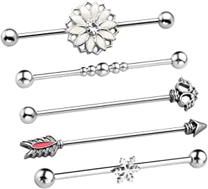 PiercingJ - Set di 5 Piercing industriali, per cartilagine, ponteggiatura, bilanciere, Barra di Foratura, in Acciaio Inossidabile, Stile Punk Rock