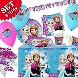 Geburtstagsfee Reine Des Neiges Kit de décoration pour anniversaire - 45pièces Kit de décoration pour anniversaire fille sur le thème de la Reine des Neiges Pour 8enfants
