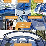 Skandika Nimbus Family Group Hybrid Design Family Tunnel Tent, 3 Sleeping Rooms, Moveable Front Wall, 200 cm Peak Height,12-Person/ Large (Blue)
