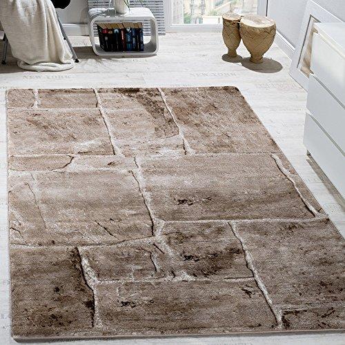 Designer Teppich Modern Trendig Meliert Steinoptik Mauer Muster Wohnzimmer Braun, Grösse:120x170 cm