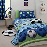 """Catherine Lansfield Football Single Duvet Cover + Matching 72"""" Curtains"""