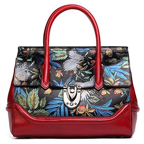 Leathario Besace en cuir véritable la première couche sac porte épaule sacoche portable sac bandoulière sac à main pour femmes sac peint à la main pour femmes Rouge Grand