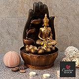 Creative Touch Fountain Edition Goldener Buddha mit Lotus & Wasserschalen Indoor - Zimmerbrunnen mit LED - Licht | Größe 25 * 25 * 40 cm | 3 Pin UK Stecker Enthalten |